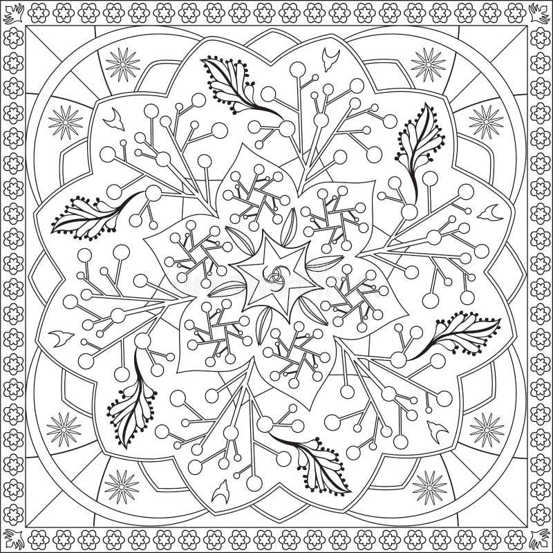 Färga sidaboken för vuxen människafyrkantformatet blom- Mandala Design Vector Illustration vektor illustrationer