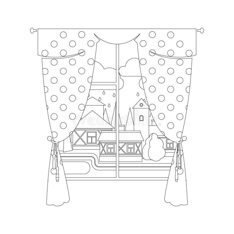 Färga sidadesign med fönstret royaltyfri illustrationer
