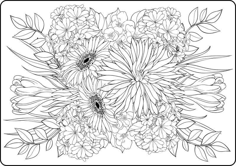 Färga sidanärbildgruppen av blommor vektor illustrationer
