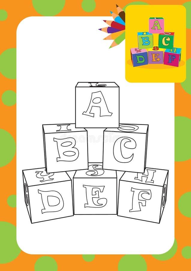 Färga sidan Bokstaven skära i tärningar leksaker royaltyfri illustrationer