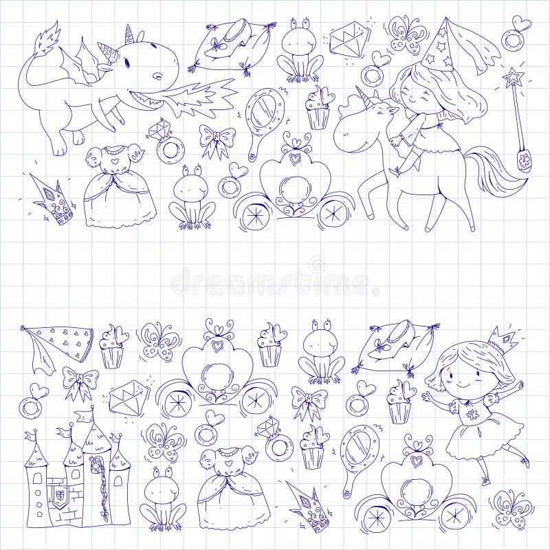 Färga sidan för bok Gullig liten prinsessa med enhörningen och draken Slott för lilla flickan, klänning, trollspö fe vektor illustrationer