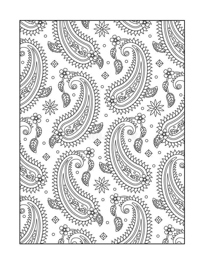 Färga sidan för vuxna människor eller svartvit dekorativ bakgrund royaltyfri illustrationer