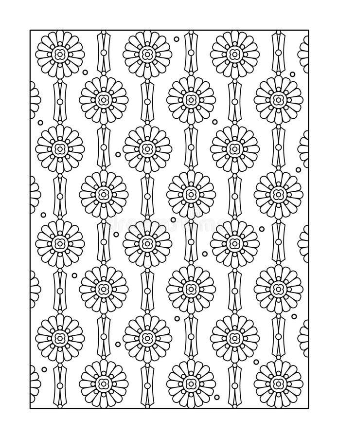 Färga sidan för vuxna människor eller svartvit dekorativ bakgrund stock illustrationer