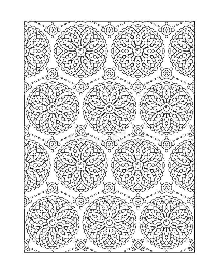 Färga sidan för vuxna människor eller svartvit dekorativ bakgrund vektor illustrationer