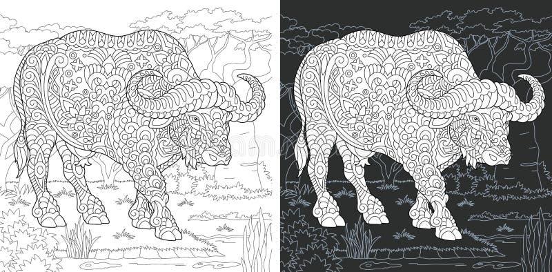 Färga sidan med buffeln stock illustrationer