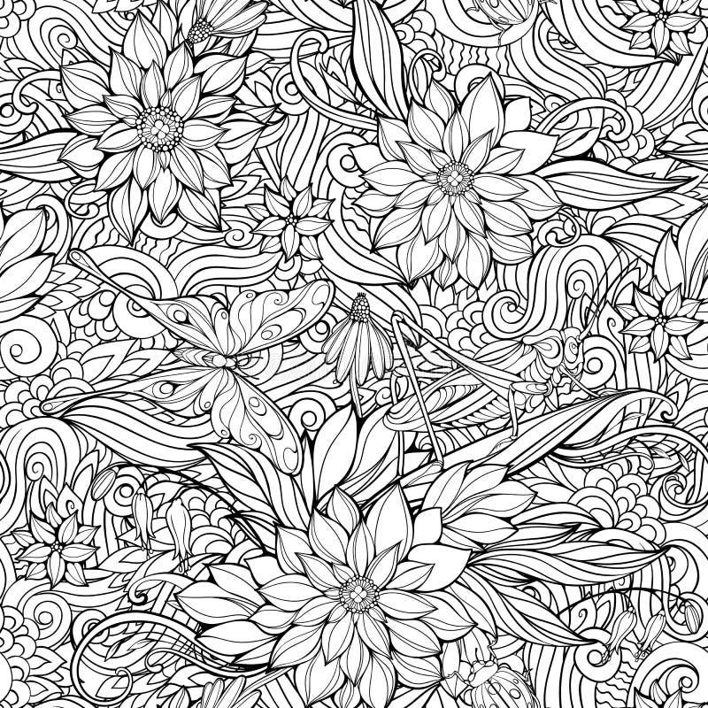 Färga sidan med den sömlösa modellen av blommor, fjärilar och stock illustrationer
