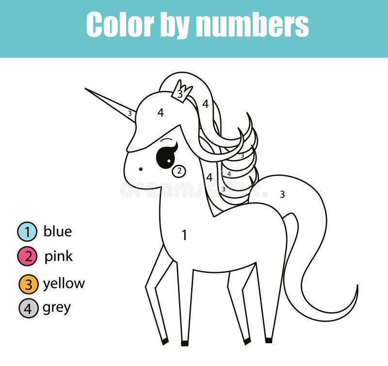 Färga sidan med enhörningteckenet Färg av bildande barn för nummer spelar och att dra ungeaktivitet royaltyfri illustrationer