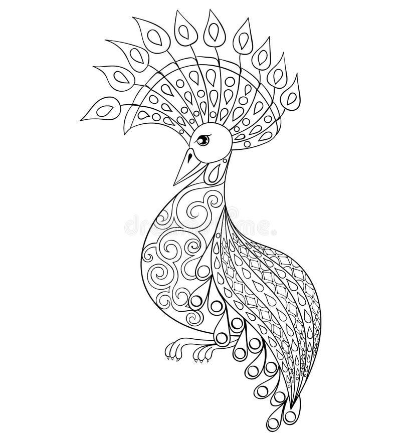 Färga sidan med fågeln, zentangleillustartionfågel för vuxen människa vektor illustrationer