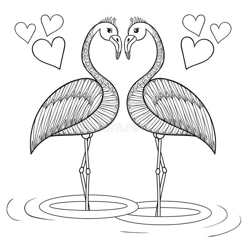 Färga sidan med förälskade flamingofåglar, zentanglehanddrawin vektor illustrationer