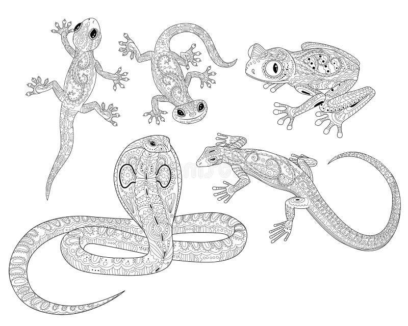 Färga sidan med reptilar i mönstrad stil vektor illustrationer