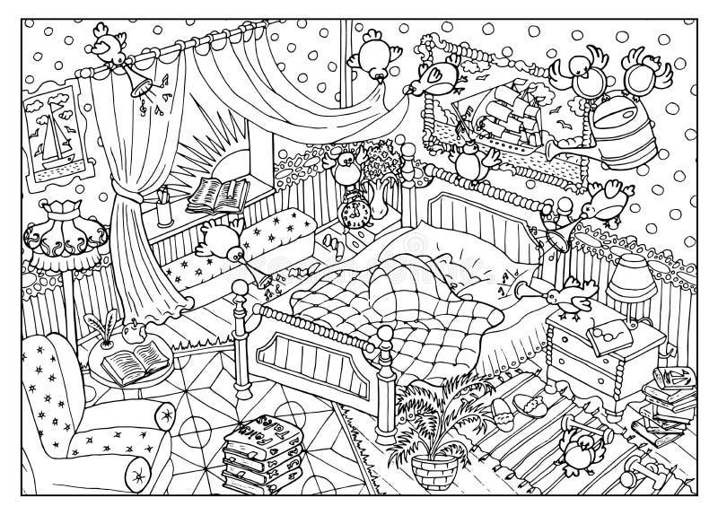 Färga sidan med stygga fåglar och att sova björnen i morgonen stock illustrationer