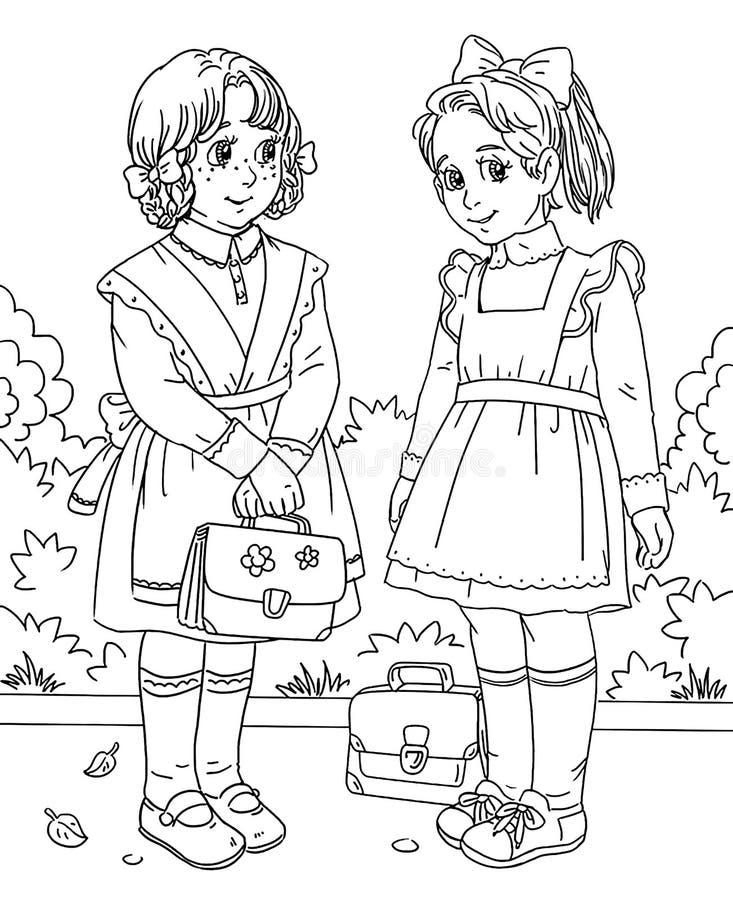 Färga sidan med två lilla skolaflickor stock illustrationer