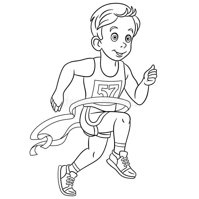 Färga sidan med vinnaren för löparekörningsmaraton stock illustrationer