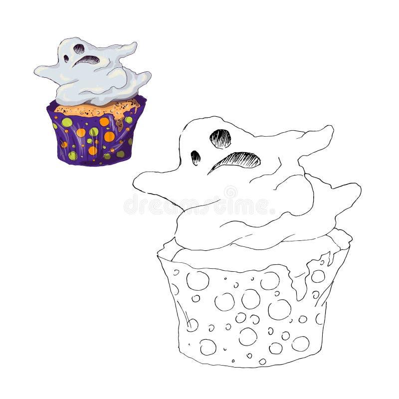 Färga sidan muffin halloween Färg vid den bildande barnleken för nummer Dra ungeaktivitet, tryckbart ark royaltyfri illustrationer