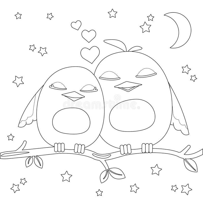 Färga sidan Två gulliga tecknad filmfåglar på filial stock illustrationer