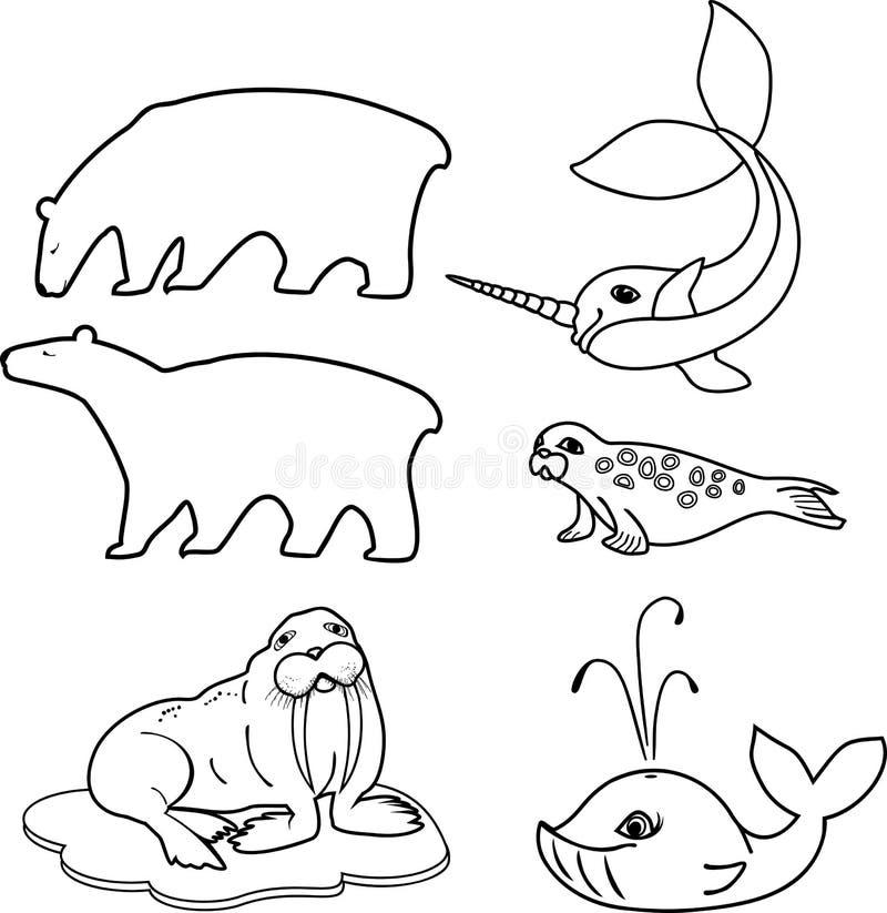 Färga sidan Uppsättning av olika tecknad filmdjur av polara faunor vektor illustrationer