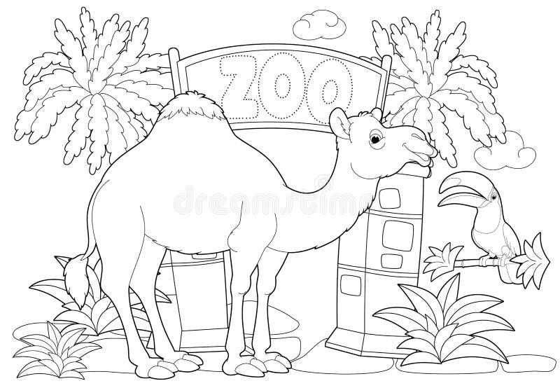 Färga sidan - zoo - illustration för barnen royaltyfri illustrationer