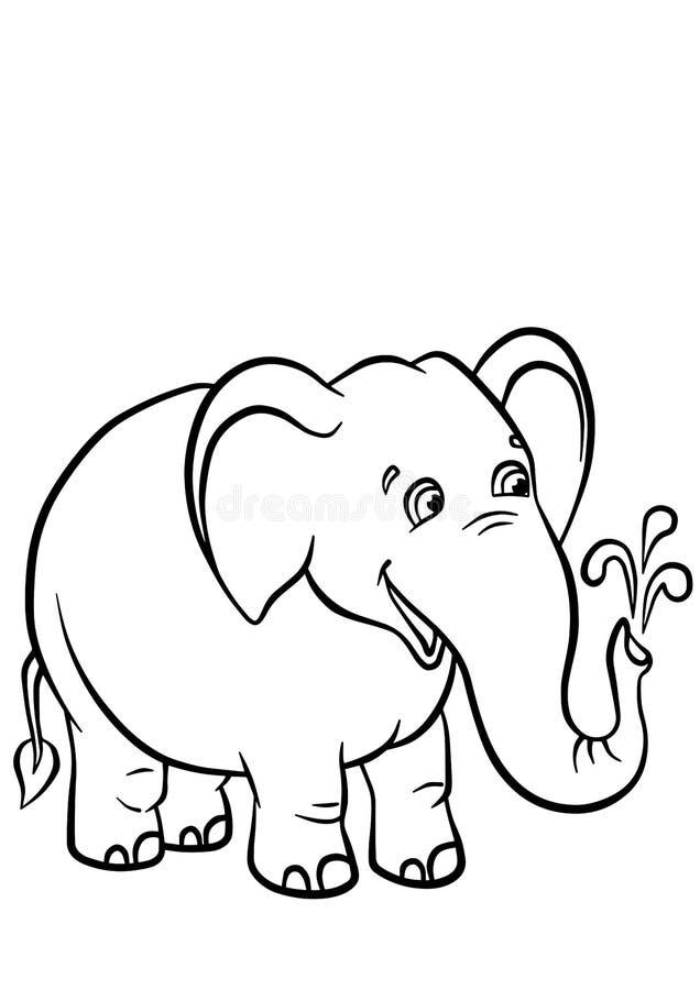 Färga sidor anhydrous gullig elefant stock illustrationer