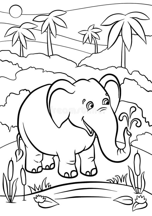 Färga sidor anhydrous gullig elefant vektor illustrationer