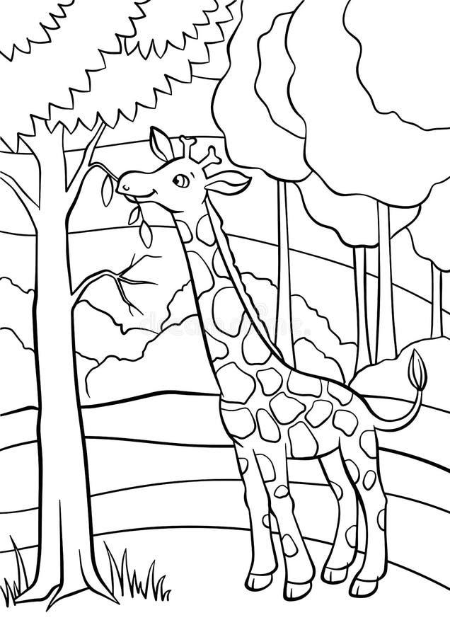 Färga sidor anhydrous gullig giraff little stock illustrationer