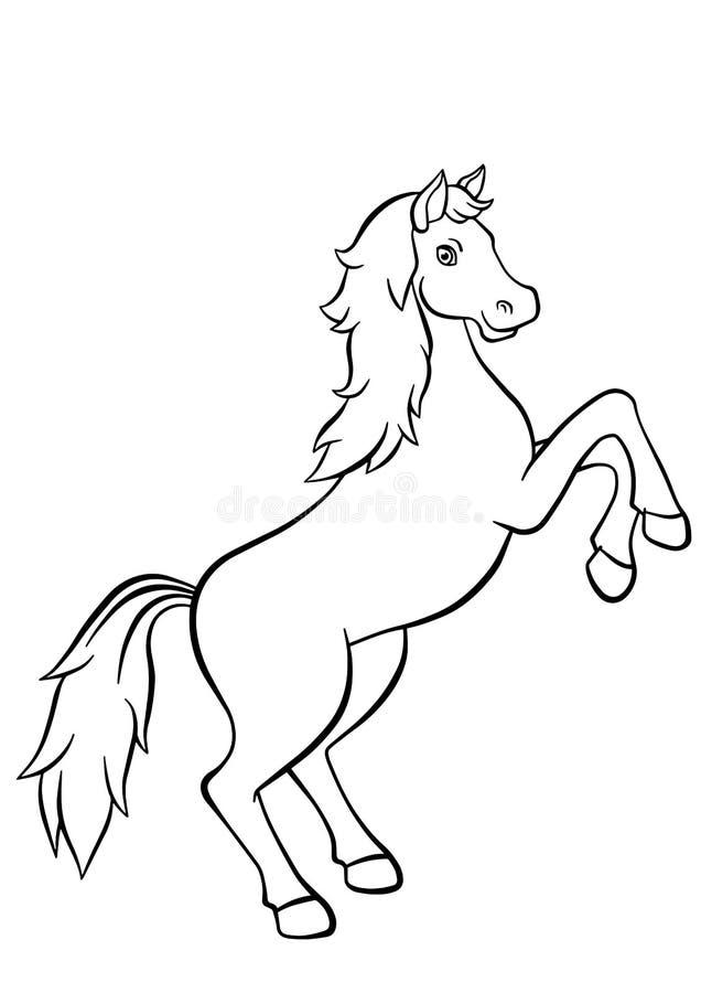 Färga sidor anhydrous gullig häst royaltyfri illustrationer