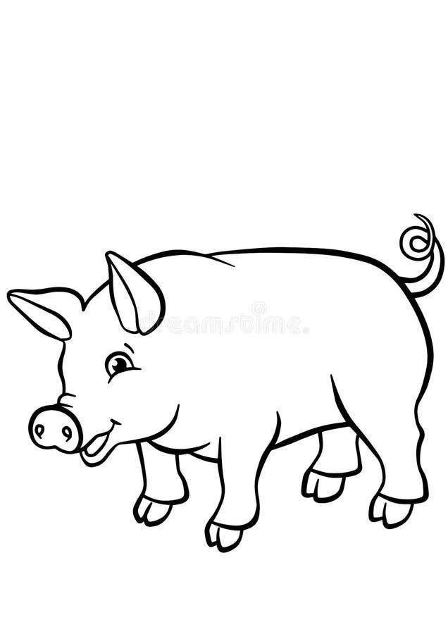 Färga sidor anhydrous gullig liten pig royaltyfri illustrationer
