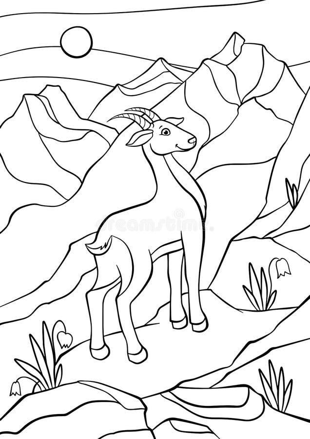Färga sidor anhydrous Liten gullig antilop stock illustrationer