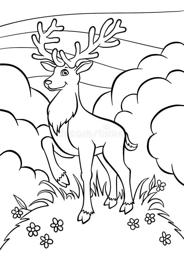 Färga sidor anhydrous Små gulliga hjortar royaltyfri illustrationer