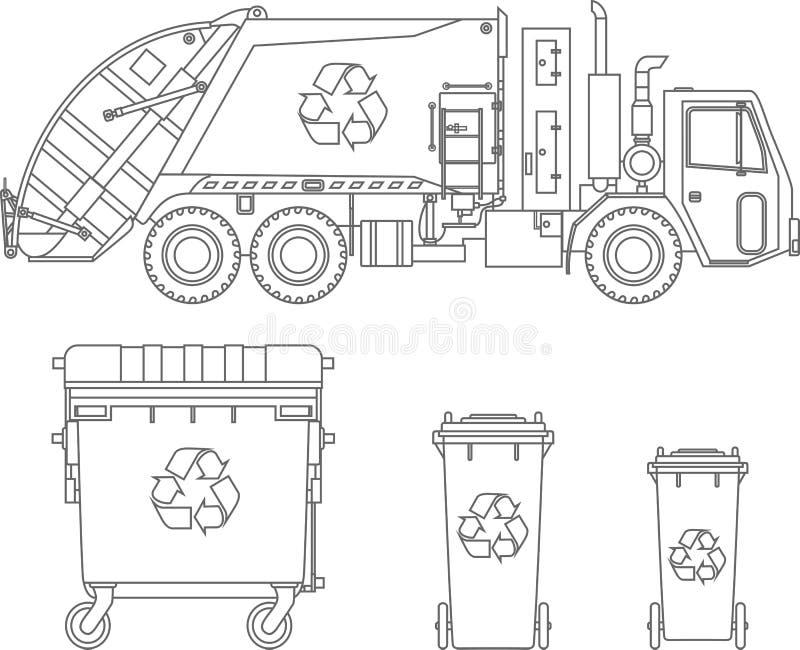 Färga sidor Avskrädelastbil och olika typer av dumpsters på vit bakgrund i plan stil också vektor för coreldrawillustration royaltyfri illustrationer