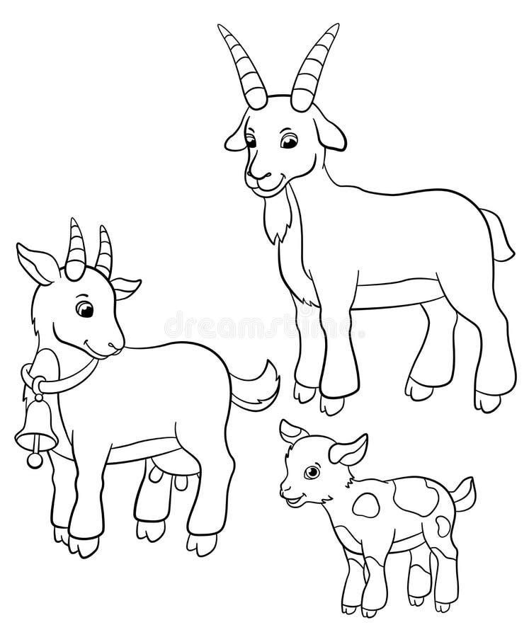 Färga sidor djurlantgårdliggande sommar för många sheeeps Getfamilj stock illustrationer