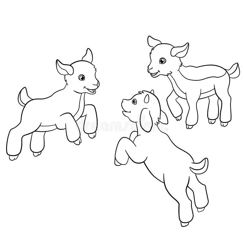 Färga sidor djurlantgårdliggande sommar för många sheeeps Små gulliga goatlings royaltyfri illustrationer