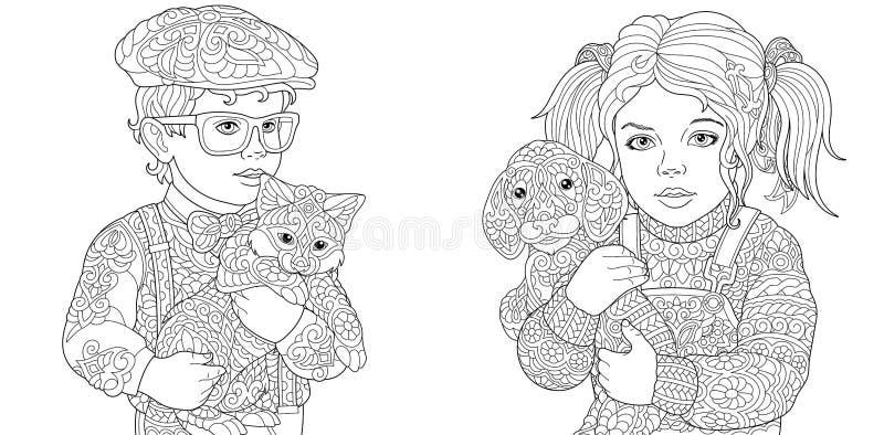 Färga sidor Färgläggningbok för vuxna människor  stock illustrationer