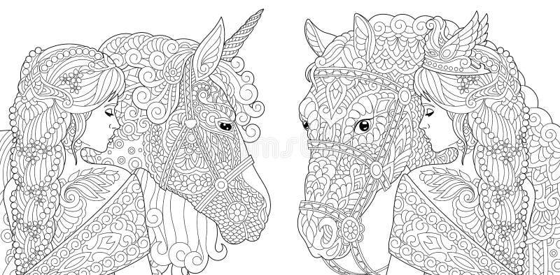 Färga sidor Färgläggningbok för vuxna människor Färga bilder med fantasiflickan och enhörninghästen som dras i zentangle, utforma stock illustrationer