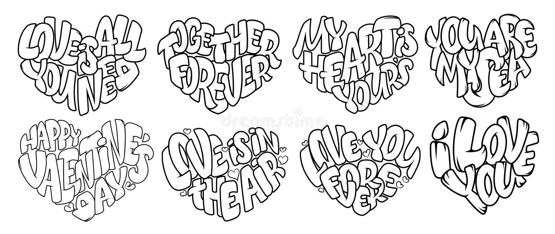 Färga sidor för vuxen människa Planlägg för att gifta sig inbjudan- och för valentin` s dag och att märka i hjärta Citationstecke vektor illustrationer