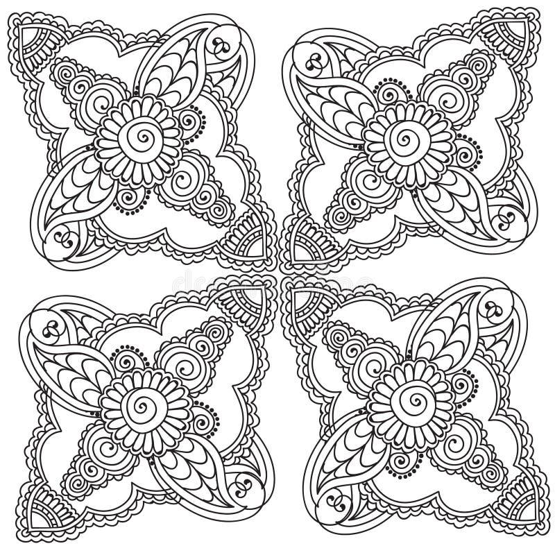 Färga sidor för vuxna människor Henna Mehndi Doodles Abstract Floral beståndsdelar vektor illustrationer