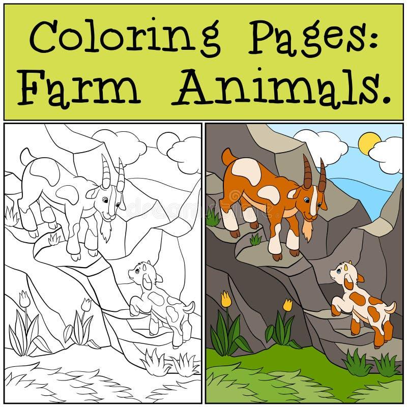 Färga sidor: Lantgårddjur Fadergeten med hans litet behandla som ett barn royaltyfri illustrationer