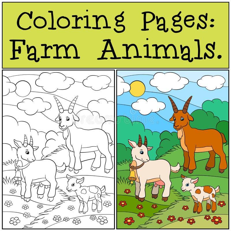 Färga sidor: Lantgårddjur Getfamilj vektor illustrationer