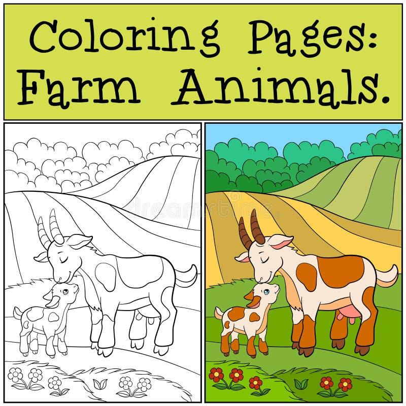 Färga sidor: Lantgårddjur Modergeten med henne behandla som ett barn stock illustrationer