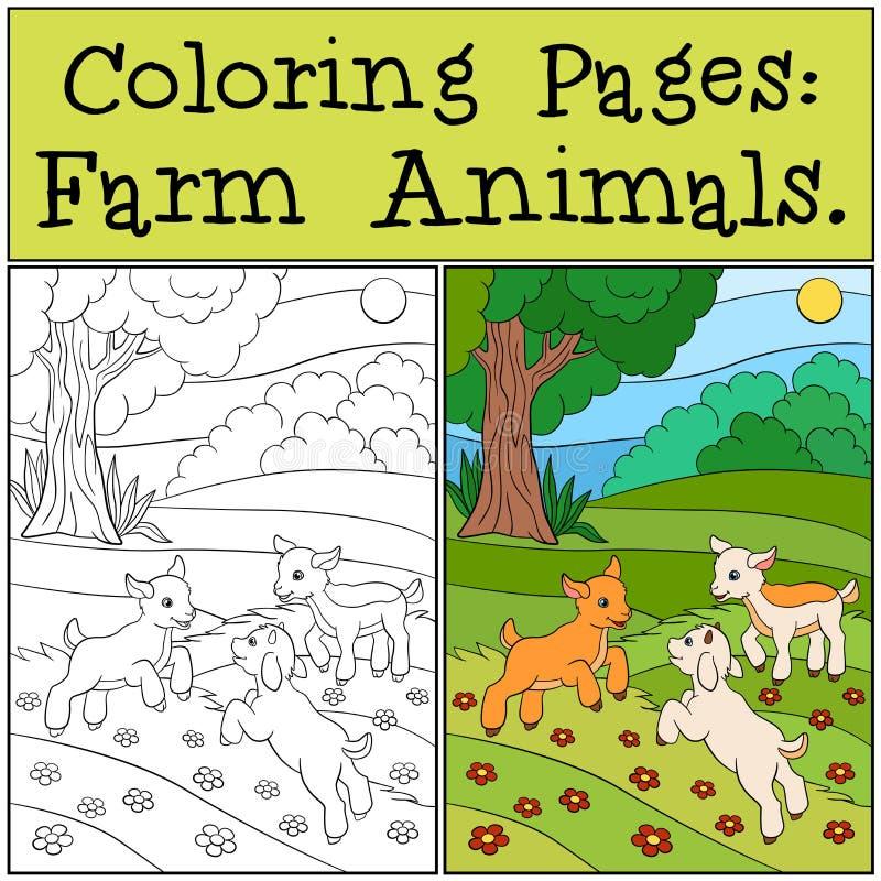 Färga sidor: Lantgårddjur Tre lilla gulligt behandla som ett barn getter royaltyfri illustrationer
