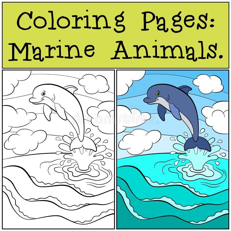 Färga sidor: Marine Animals Små gulliga delfinhopp royaltyfri illustrationer