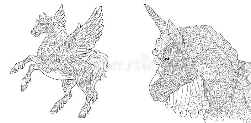 Färga sidor med enhörningen och pegasus stock illustrationer