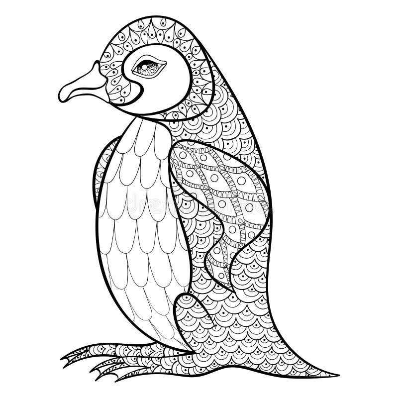 Färga sidor med konungen Penguin, zentangleillustartion för adu royaltyfri illustrationer