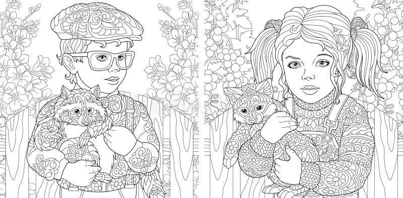 Färga sidor med pojken och flickan som omfamnar päls- djur vektor illustrationer