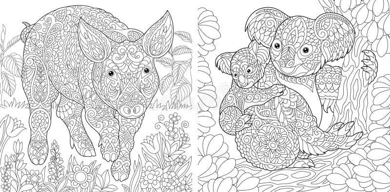 Färga sidor med svinet och koalor stock illustrationer