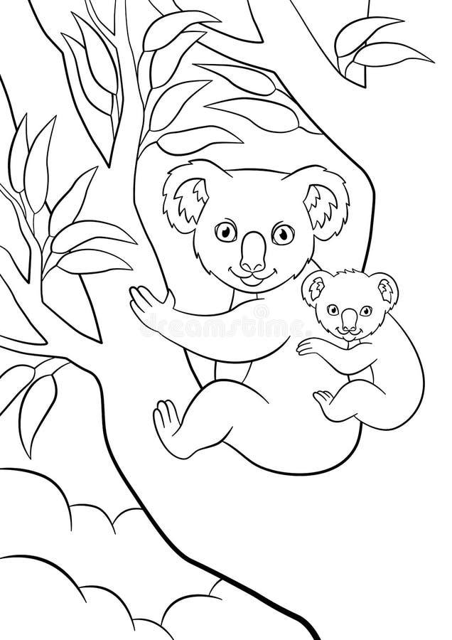 Färga sidor Modern som koalan med hennes lilla gulliga sova behandla som ett barn, sitter på trädet vektor illustrationer