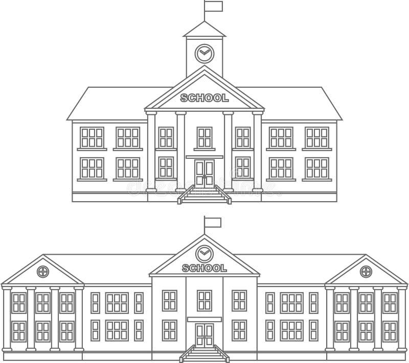 Färga sidor Uppsättning av linjära symboler för olik lägenhet för konturskolabyggnad som isoleras på vit bakgrund vektor royaltyfri illustrationer