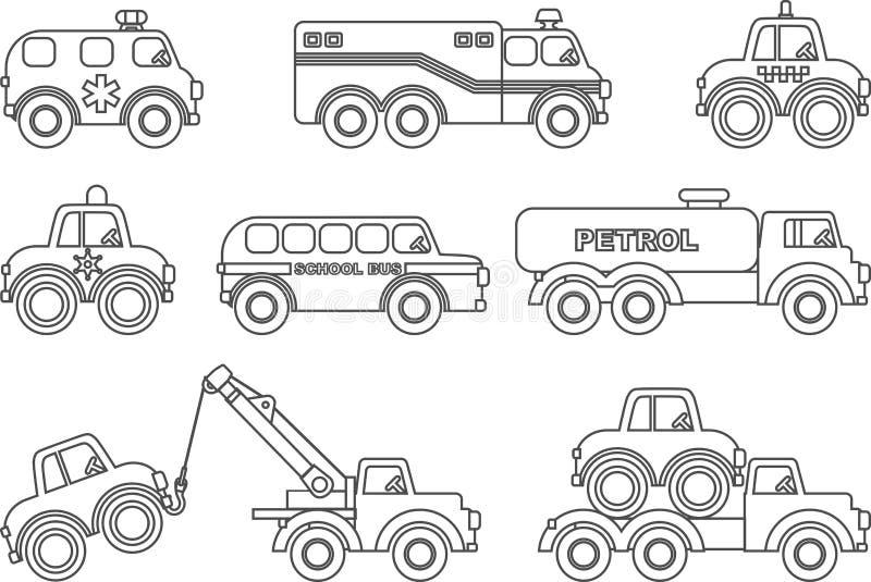 Färga sidor Uppsättning av olika konturbarnleksaker royaltyfri illustrationer