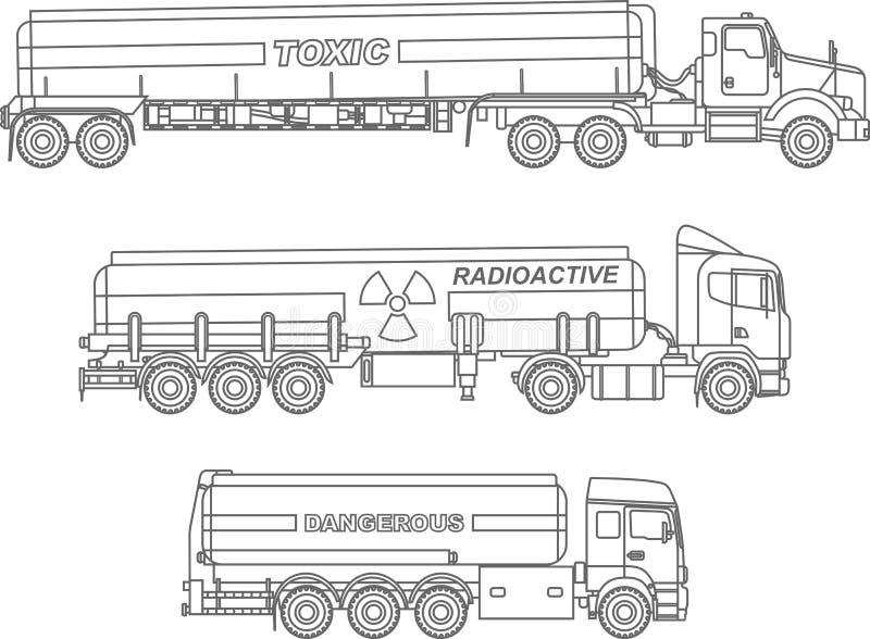 Färga sidor Uppsättningen av den olika snälla cisternen åker lastbil den bärande kemikalien, radioaktiva, giftliga farliga vikter vektor illustrationer