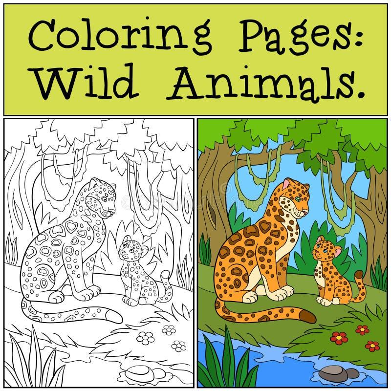 Färga sidor: Vilda djur Moderjaguar med hennes gröngöling stock illustrationer