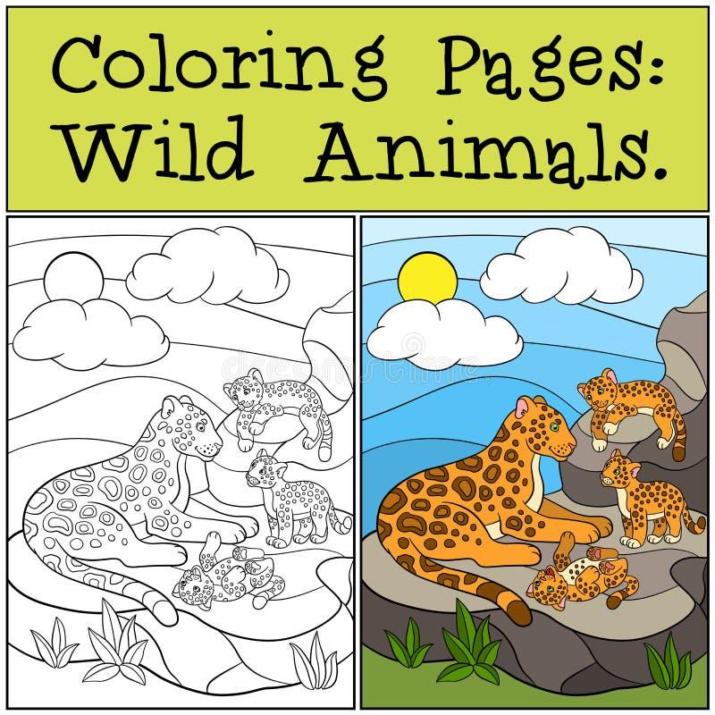 Färga sidor: Vilda djur Moderjaguar med hennes gröngölingar stock illustrationer